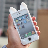 Free shipping for iPhone 4 4S cute ear phone shell,  solid color,  fashion.