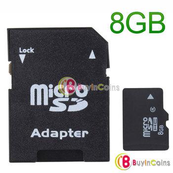 High Capacity 8GB Micro SD TF MicroSD TF Memory Card 8GB 8 GB with SD Adapter [12305|01|01]