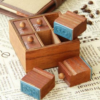 bentoy retro creative drawer chop wood rubber stamp diy seal 6 set free shipping