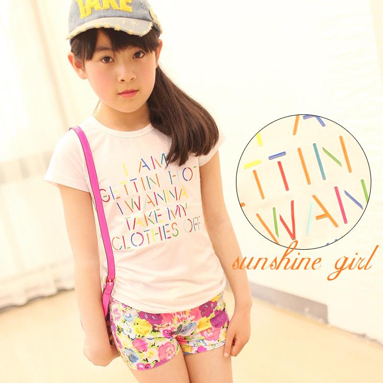 ملابس الاطفال صيف 2013 Summer-2013-children-s-clothing-large-female-child-multicolour-letter-short-sleeve-o-neck-T-shirt.jpg