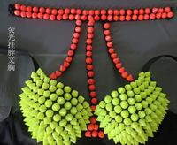 SEXY&Fashion Female singer ds costume neon color punk single-bra rivet halter-neck corselets Free shipping