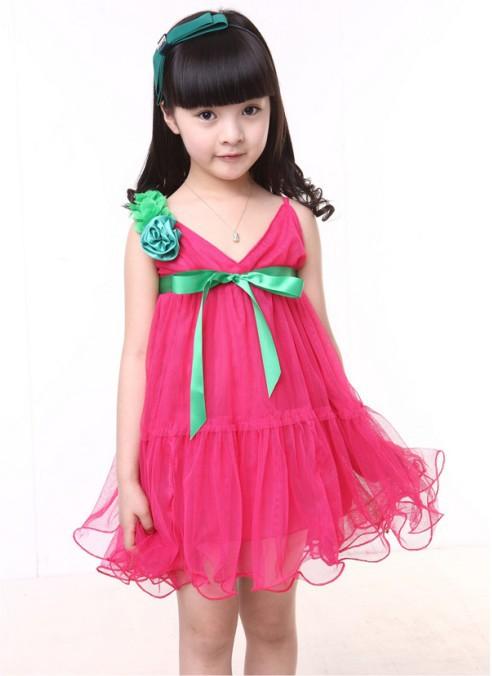 Hot pink chiffon girl braces tulle dress with flower ribbon bow the princess tutu dresses for kids girls 2013 5pcs/lot(China (Mainland))