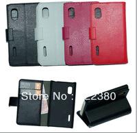 PU Leather Wallet Case for LG Optimus L5  E612 wallet stand cover magnetic case free shipping