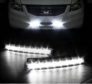 Free shipping New 2PCS Super White 8 LED Universal Car Light Daytime Running auto lamp DRL