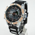 Free Shipping Fashion WEIDE Mens Waterproof Sports Watch Analog & Digital Dual Time LCD Backlight WH-1104-G