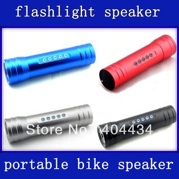 bike bicycle speaker flashlight aluminum alloy surface with TF/micro sd card slot 60pcs/lot