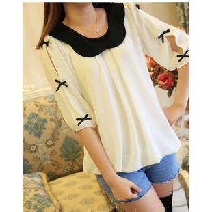 Women's peter pan collar color block shirt bow pleated chiffon three quarter sleeve white shirt