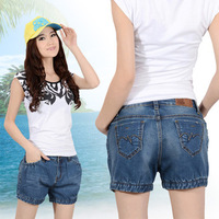 Summer mid waist slim lantern denim shorts female casual loose plus size female shorts