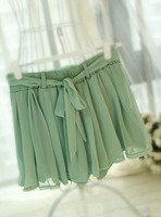 2013 summer candy color belt pleated lacing high waist chiffon skirt pants bust skirt female