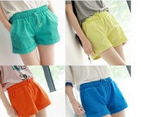 2012 all-match roll-up hem roll up hem drawstring waist overalls elastic candy color shorts 200
