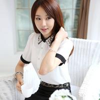 O LA LA 2013 spring and summer women's fashion slim diamond peter pan collar chiffon shirt female white short-sleeve shirt