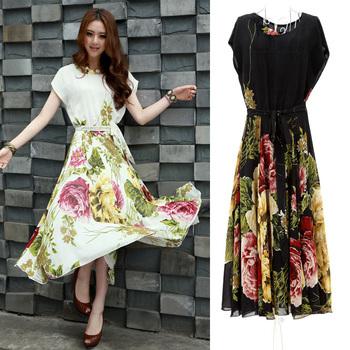 Summer bohemia 2013 full dress plus size clothing slim chiffon one-piece dress female skirt