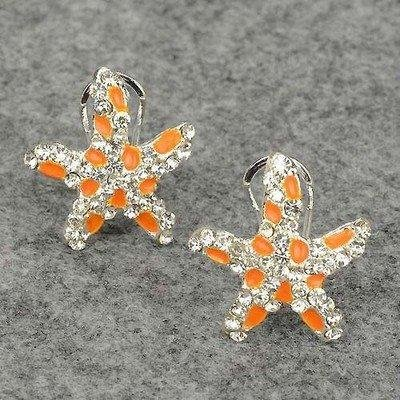 Chic Gracious Gold Plated GP Shining Rhinestone Star Design Stud Earrings Free shipping(China (Mainland))