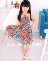 5PCS/LOT&Free Shipping!multicolor kids clothes summer 2013 name brand tulle flower girl dress pattern designer long summer dress