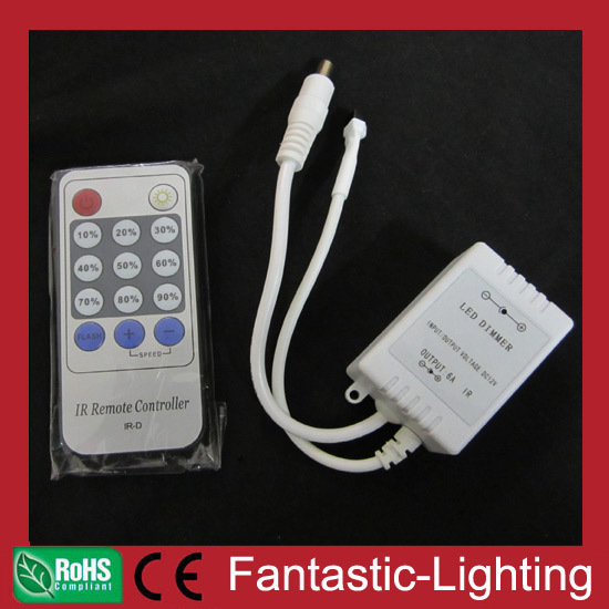 wholesale 50pcs/lot Simple 96W 192W LED Dimmer 12V 24VDC IR remote strip dimmer controller(China (Mainland))