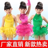 Infant female child flower girl costume Latin modern child dance tulle dress