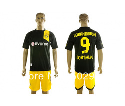 2012-2013 best quality Borussia Dortmund away black soccer uniforms kit, BVB LEWANDOWSKI 9# football jerseys & short(China (Mainland))