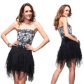 HE00202BK free shipping Sexy Black Vogue Lace Cocktail Dress