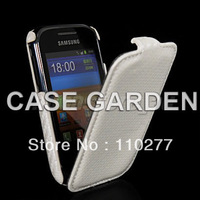 New Cellphone Carbon Fibre Flip Hard Back Case Cover for SAMSUNG GALAXY Pocket S5300 White Retail Free Shipping