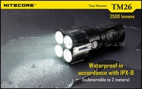 FREE DHL,1PC Nitecore QuadRay TM26 Flashlight Tiny Monster 3500 Lumens Quad-Cree XML U2 Rechargable LED Searchlight