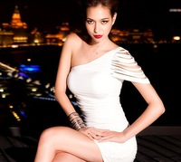 Vogued Womens One-shoulder Tassel Draped Cocktail Party Sexy Mini Dress White Black Red