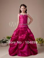 Red A-line Square Taffeta Floor Length Flower Girl  custom Dress  Size 2.4.6.8.10.12.14.16.