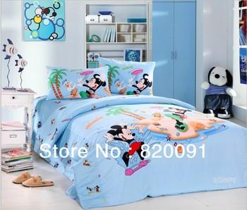 100% Cotton Cartoon Mickey Mouse & Donald Duck Duvet Cover Beds Bed Linen Kids Home Textile 3/4PCS Twin/Full/Queen, Light Blue
