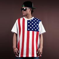 Honey american flag loose hip-hop hiphop bboy hiphop dancer short-sleeve tops & tees men boys shirts new 2014 sports clothing