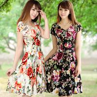Summer 2013 milk, silk short-sleeve V-neck one-piece dress plus size clothing beach dress