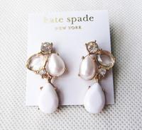 Ks white shell crystal flower design long earrings