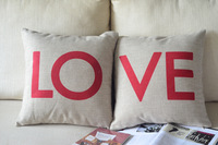 Free Shipping Vintage LOVE LETTERS LINEN Cushion Cover Throw Pillow Case Wedding Gift Home Decoration Textile 45X45CM BSL-LC26