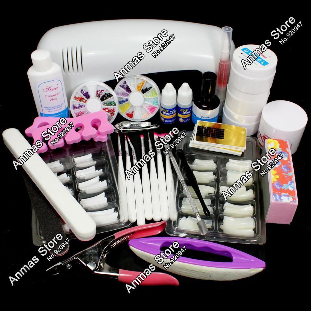 Free Shipping Pro Nail Art UV Gel Kits Tool UV lamp Brush Remover nail tips glue acrylic UW,HB-NailArt01-12set(China (Mainland))