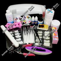 Free Shipping Pro Nail Art UV Gel Kits Tool UV lamp Brush Remover nail tips glue acrylic UW,HB-NailArt01-12set