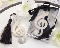 "Wholesale free shipping Music mark""Timeless Duet"" Brushed-Metal Openwork Bookmark with Elegant Silk Tassel for favors 20pcs"