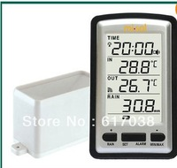 sin hilos rain meter w/ termometro. pluviometro Weather Station for in/out temp  /freeshipping