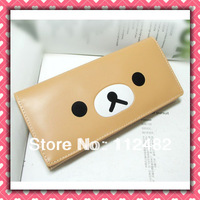 Free shipping Rilakkuma khaki cartoon cute kids wallet PU Long purse