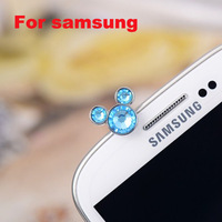 New earphone plug For Samsung only original crystal 3D headphone jack plug cellphone dust plug with Fast Freeshipping