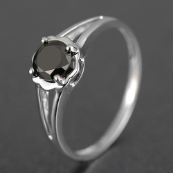 FREE SHIPPING Guaranteed 100% REAL NATURAL, SOLID 14KT WHITE GOLD 0.60CT Brilliant Cut Black Diamond RING(Hong Kong)