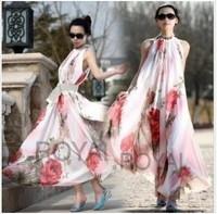 2014 spring new bohemian elegant flowers strap dress dress summer chiffon beach dress