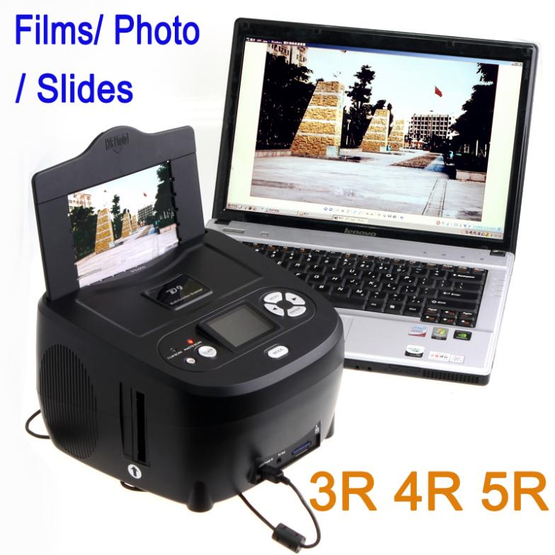 New! Multi-function 5.0 Mega pixels USB LCD Digital Photo & Slides & 35mm Films Scanner 3R 4R 5R Photo Type Free Shipping(China (Mainland))