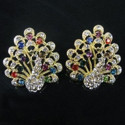 NEW Shine MULTICOLOR CRYSTAL PEACOCK BEAUTY EARRINGS Studs For Free shipping(China (Mainland))