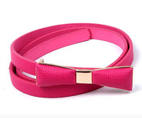 F05119-10 10Pcs Candy Color PU Leather Bowknot Waist Belt Thin Skirt Decorative Belt Waistband For Woman Lady + Free shipping