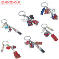 Free Shipping M word flag big ben double layer bus london alloy keychain fashion key chain souvenir