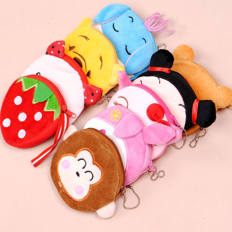 Free shipping 38 cartoon animal coin purse plush coin purse coin case small bag(China (Mainland))
