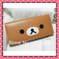 Free shipping Rilakkuma cartoon cute kids wallet PU Long purse