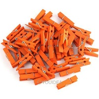 Free Shipping  200 Pcs/Lot Orange Dyed  Retail Craft Mini 25mm Wooden Clothes Photo Clips Wood Peg drop shipping