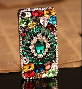free shipping!!3D 100% handmade import from Austria rhinestone crystal Diamond Vintage colorful case cover  for iphone3 4 4s 5