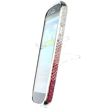 Diamond Crystal Bling Metal Bumper Hard White Change Pink Wave Frame Case Cover for Samsung Galaxy S3 III 9300