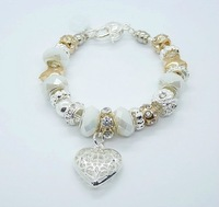Free shipping!!Hot Wholesale European Murano Glass Crystal  Bead Sterling Silver Charm Bracelet XB177