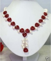 true white pearl and red jade heart necklace pendant